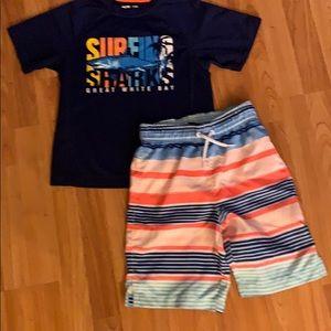 Boys Swim Trunks & Rashguard Top